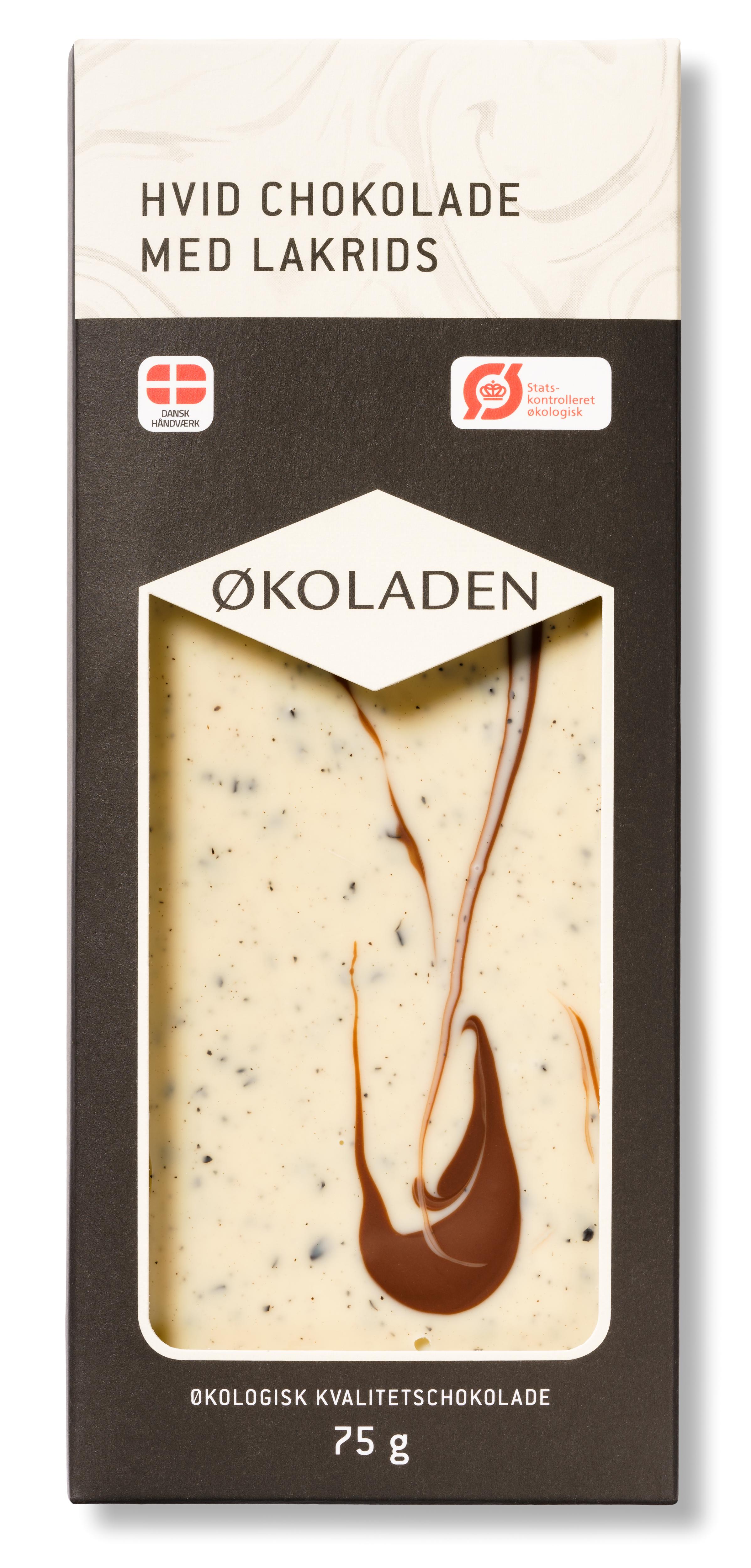 Image of   Økoladen Chokolade hvid lakrids Ø - 75 G