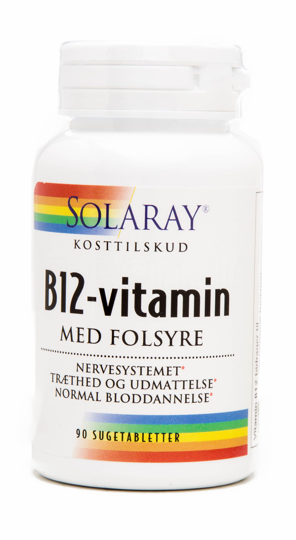 Image of   Solaray B12 Vitamin med Folsyre - 90 Suge