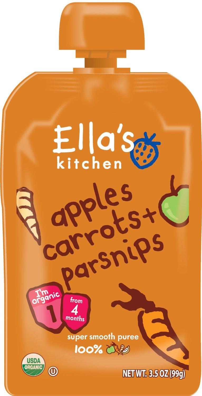 Image of   Ellas Kitchen Babymos gulerod, æble & pastinak 4 mdr Ø - 120 Gram