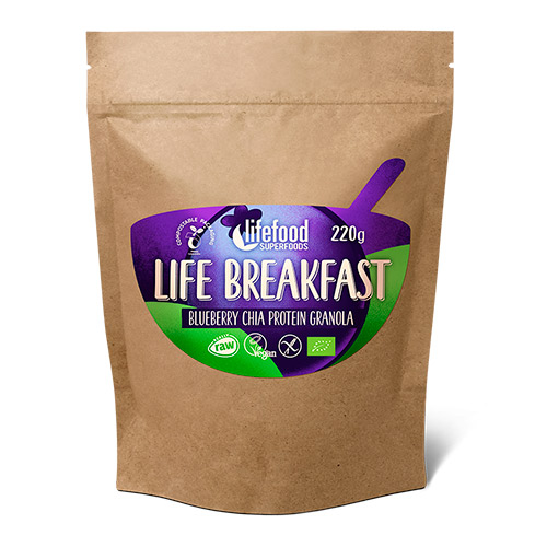Image of   AbsorBurn Life Breakfast Blåbær & Chia Ø Protein Granola Raw - 220 G