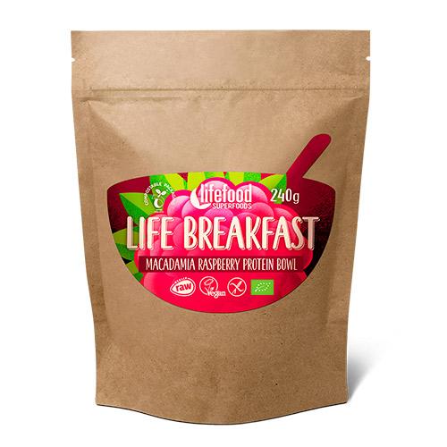 Image of   AbsorBurn Life Breakfast Macadamia & Hindbær Ø Protein Blanding Raw - 240 G