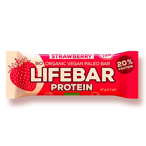 Image of   AbsorBurn Lifebar Strawberry Proteinbar Raw Ø - 47 G