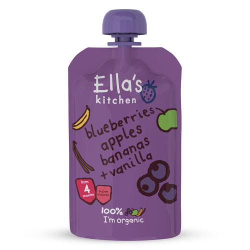 Image of   Ellas Kitchen Babymos blåbær, æble, banan & vanilje 4 mdr Ø - 120 G
