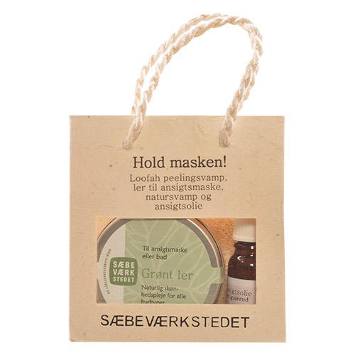 Image of   Sæbeværkstedet Hold Masken Gavepose Indh. Grønt Ler, Ansigtsolie,natursvamp Peeling Pad - 1 Pakk