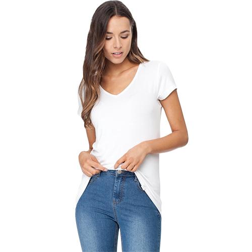 Image of   Boody T-shirt Dame Hvid V-hals Str. L - 1 stk