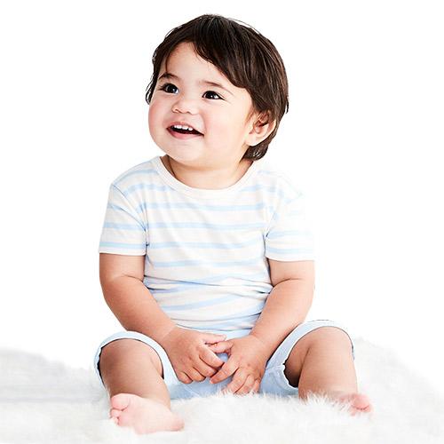 Image of   Boody Baby T-shirt Stribet Hvid/blå 6-12 Mdr - 1 stk