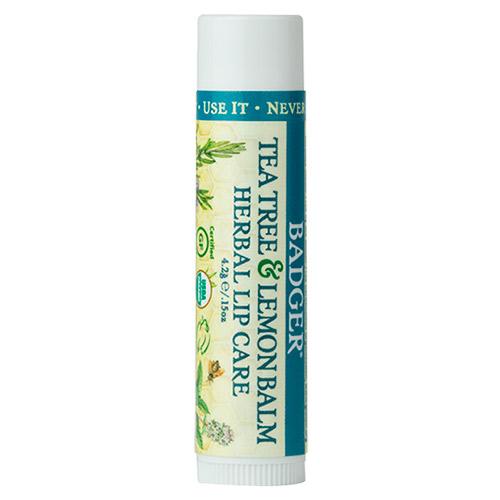 Image of   Badger Balm Lip Balm Tea Tree & Lemon Herbal Lip Care - 4 G