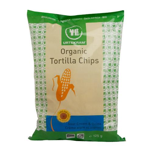 Urtekram Tortilla chips sourcream & onion Ø - 125 G