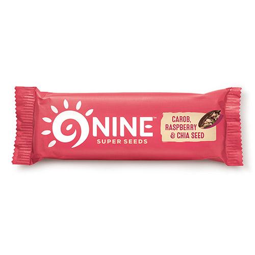 Image of   9Brand Foods 9NINE bar Hindbær og Chia med carob overtræk - 40 G