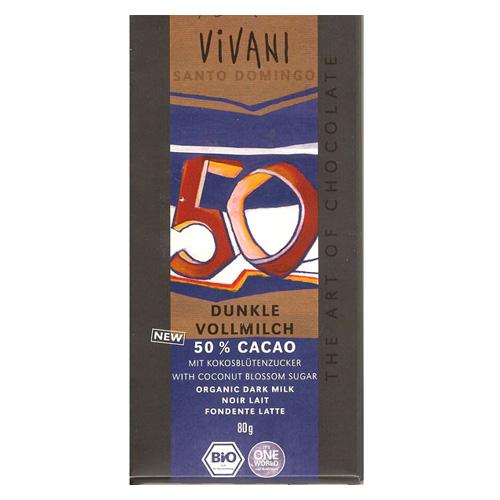 Image of   Vivani Chokolade 50% mælk, mørk Santo Domingo Ø - 80 G