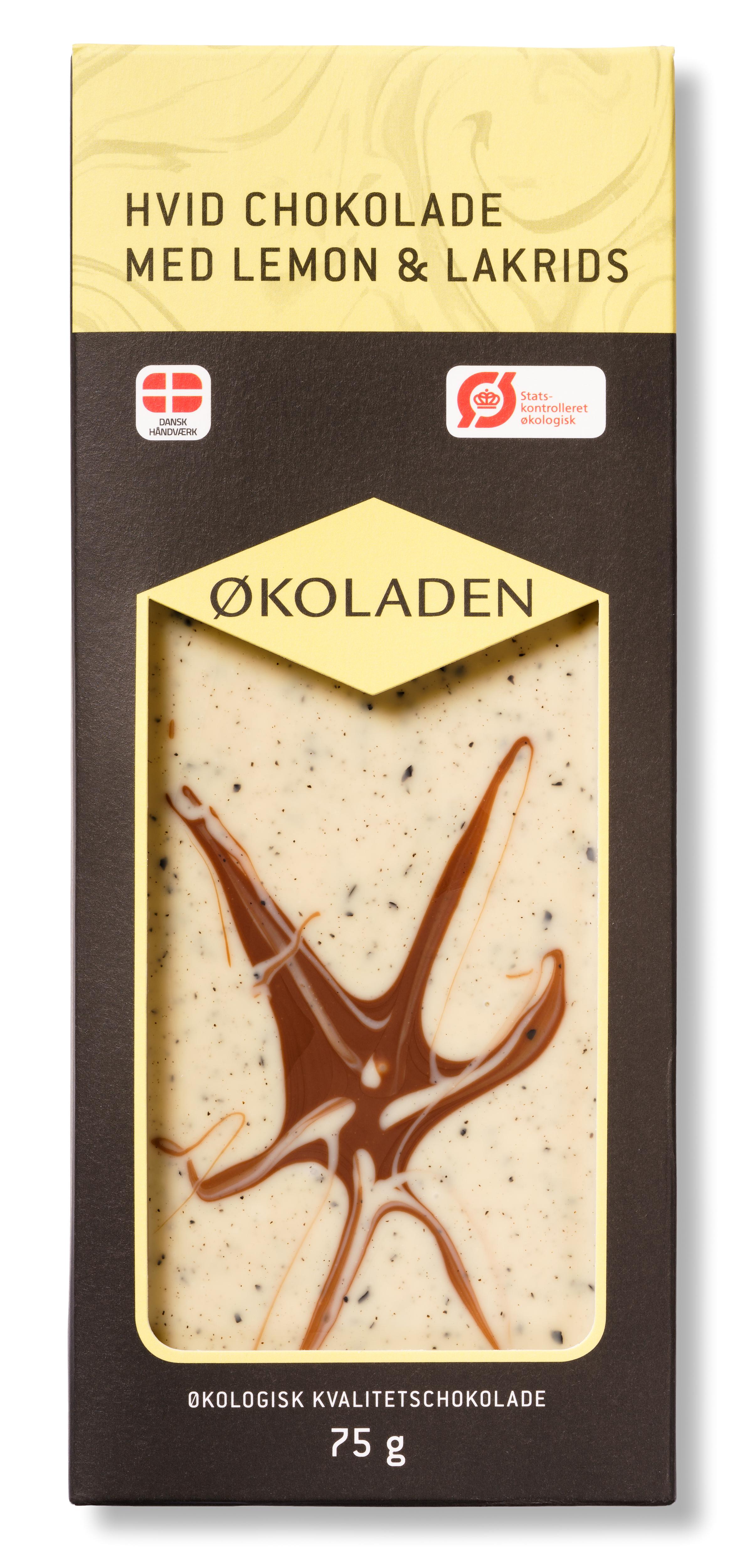 Billede af Økoladen Chokolade hvid lemon/lakrids Ø - 75 G