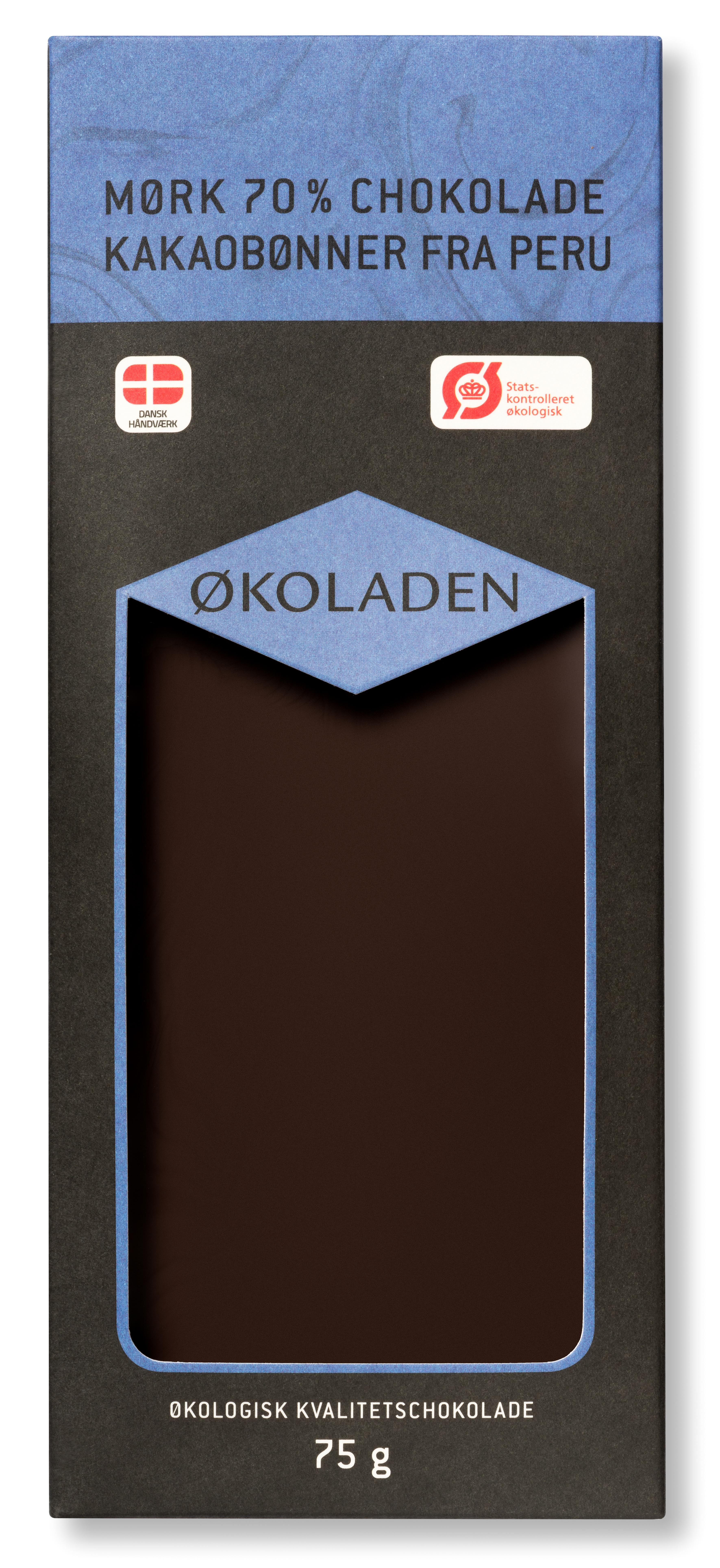 Image of   Økoladen Chokolade mørk 70% Ø kakaobønner fra Peru - 75 G
