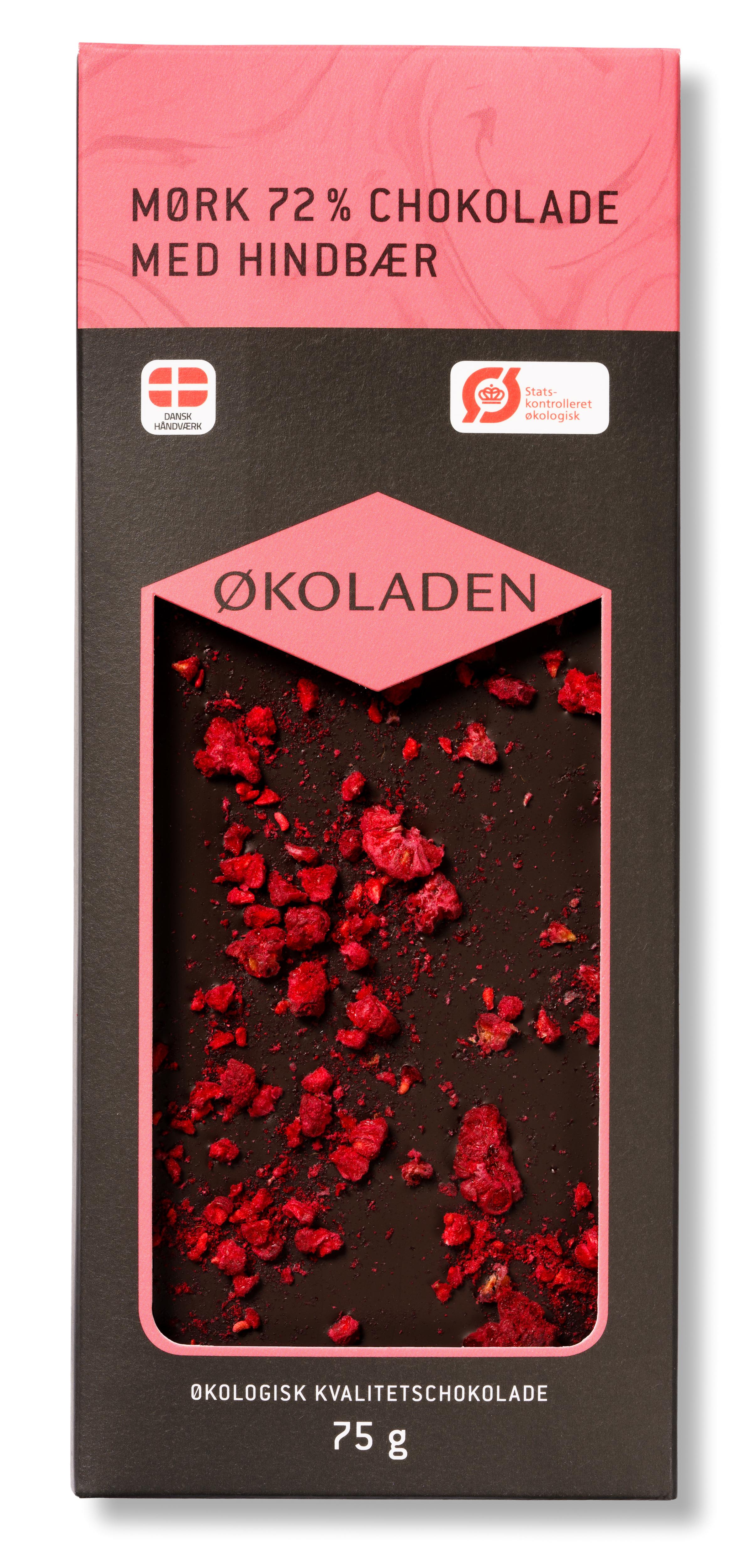 Image of   Økoladen Chokolade mørk hindbær 72% Ø - 75 G