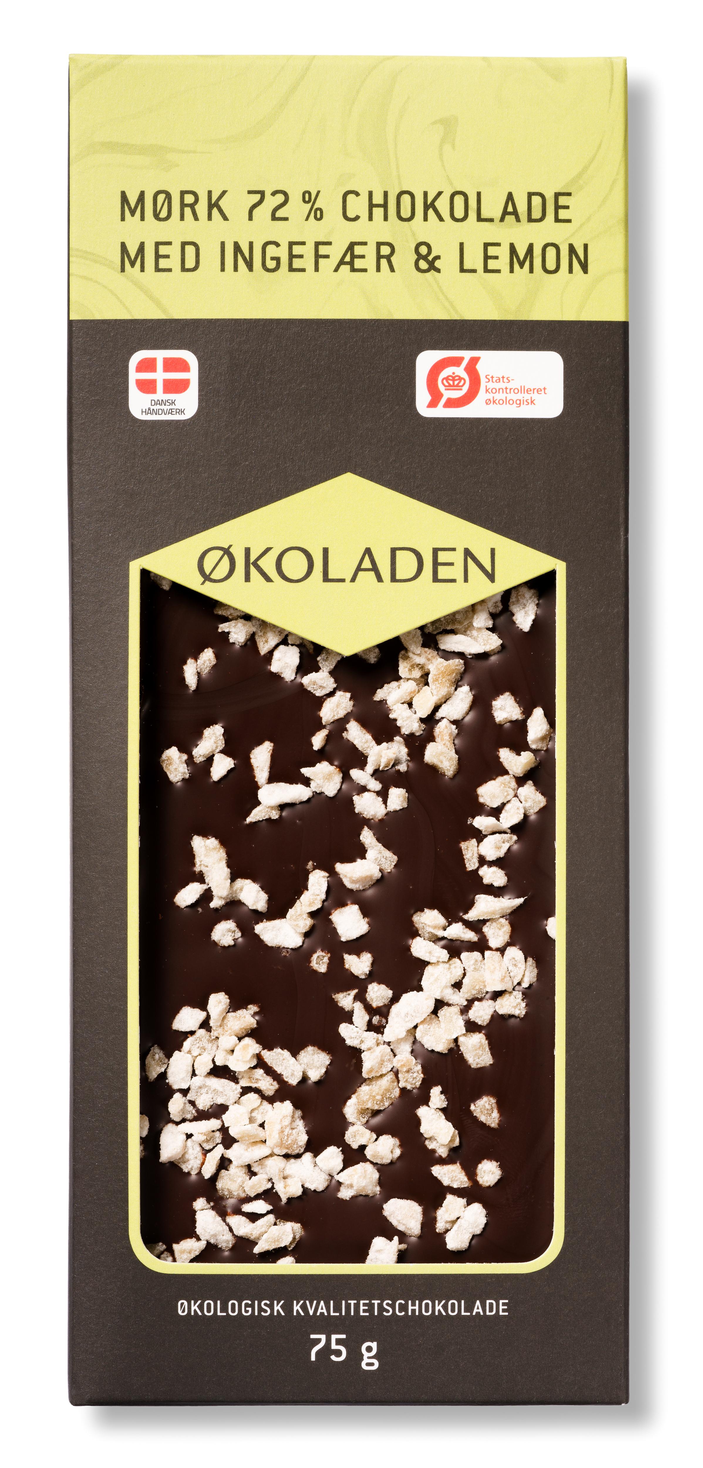 Image of   Økoladen Chokolade mørk ingefær/lemon Ø 72% - 75 G