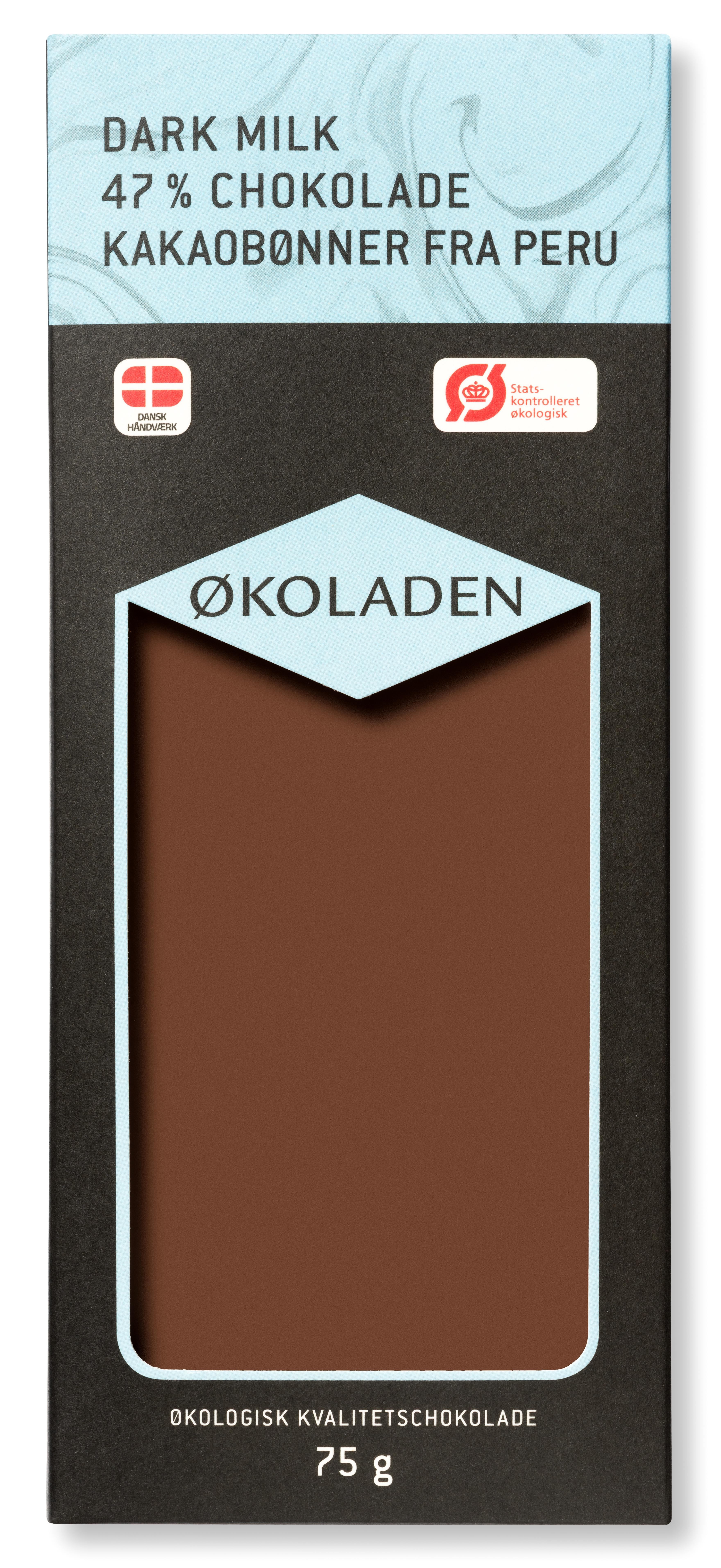 Image of   Økoladen Chokolade mørk mælk 47% Ø kakaobønner fra Peru - 75 G