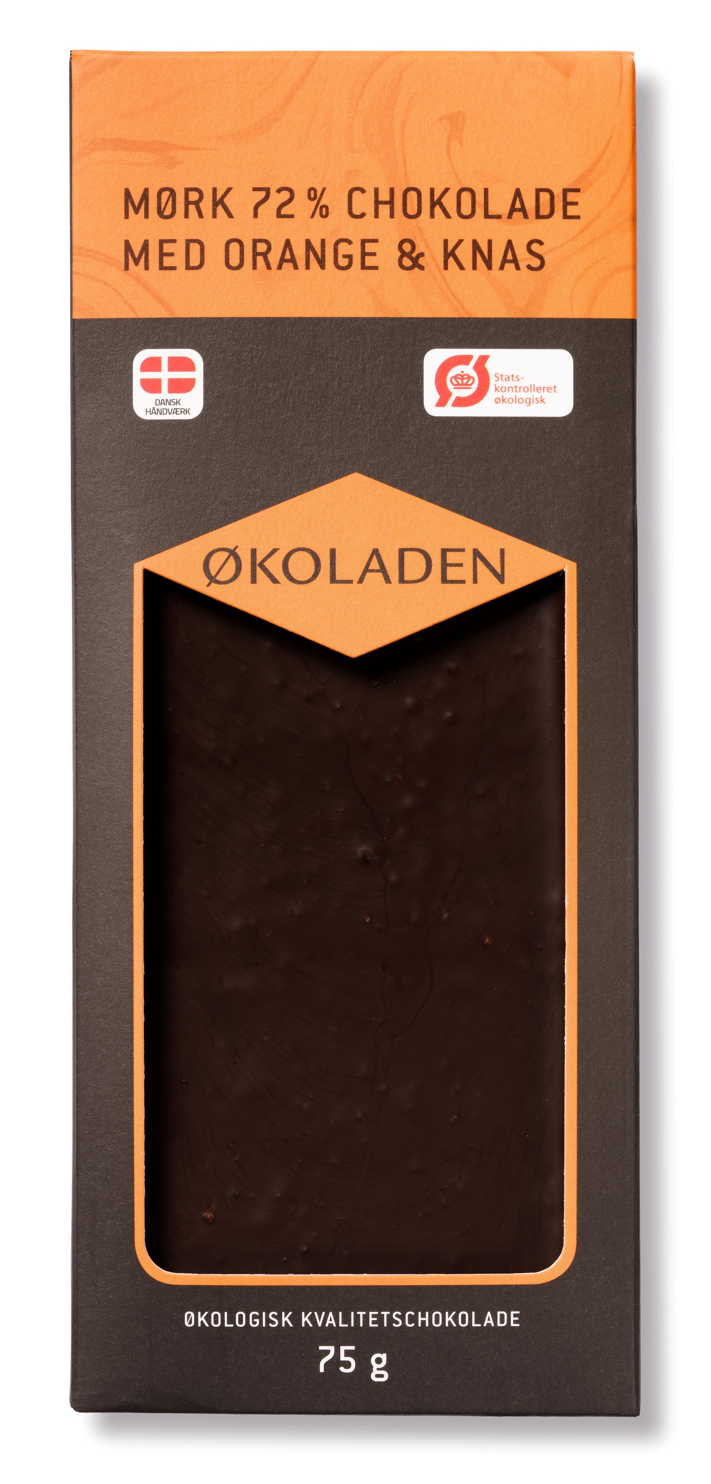 Billede af Økoladen Chokolade mørk orange/knas Ø 72% - 75 G