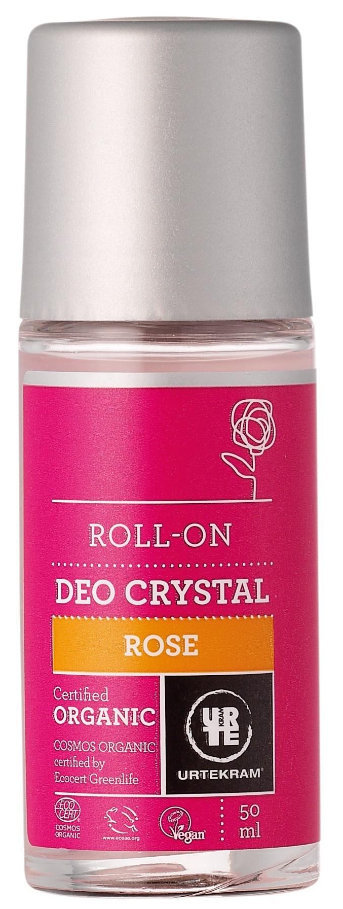 Urtekram Rose Deo Krystal Roll-On - 50 ml